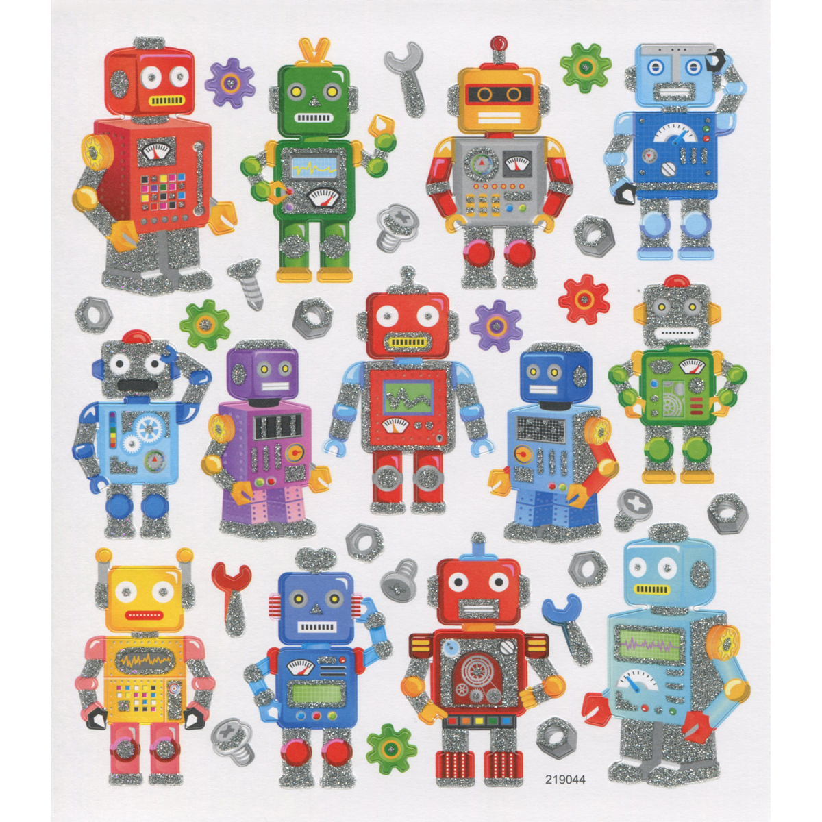 Multicolored Stickers-Robot Fun