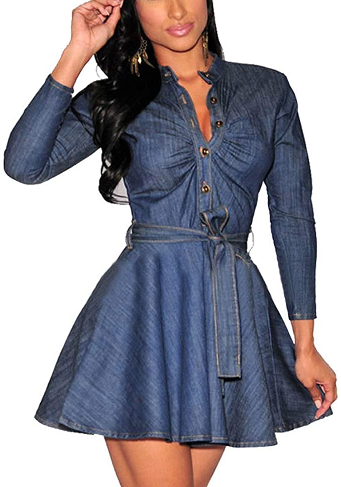 Fashion Women Slim Fit Denim Jean Dress Bowknot Belt Long Sleeve Shirt Dress