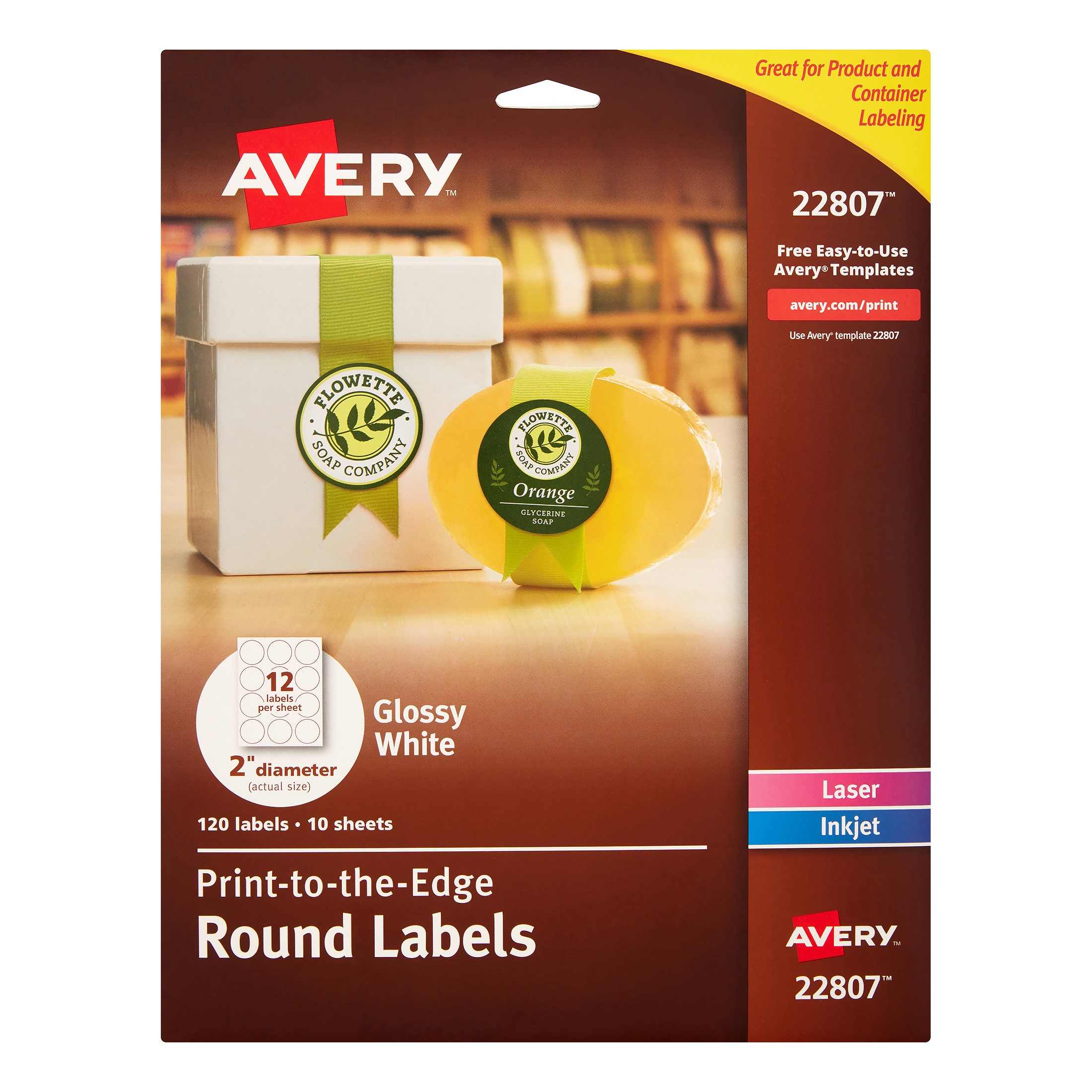 Avery Print-to-the-Edge Round Labels, 2 in. Diameter, White, 120 Count (22807)