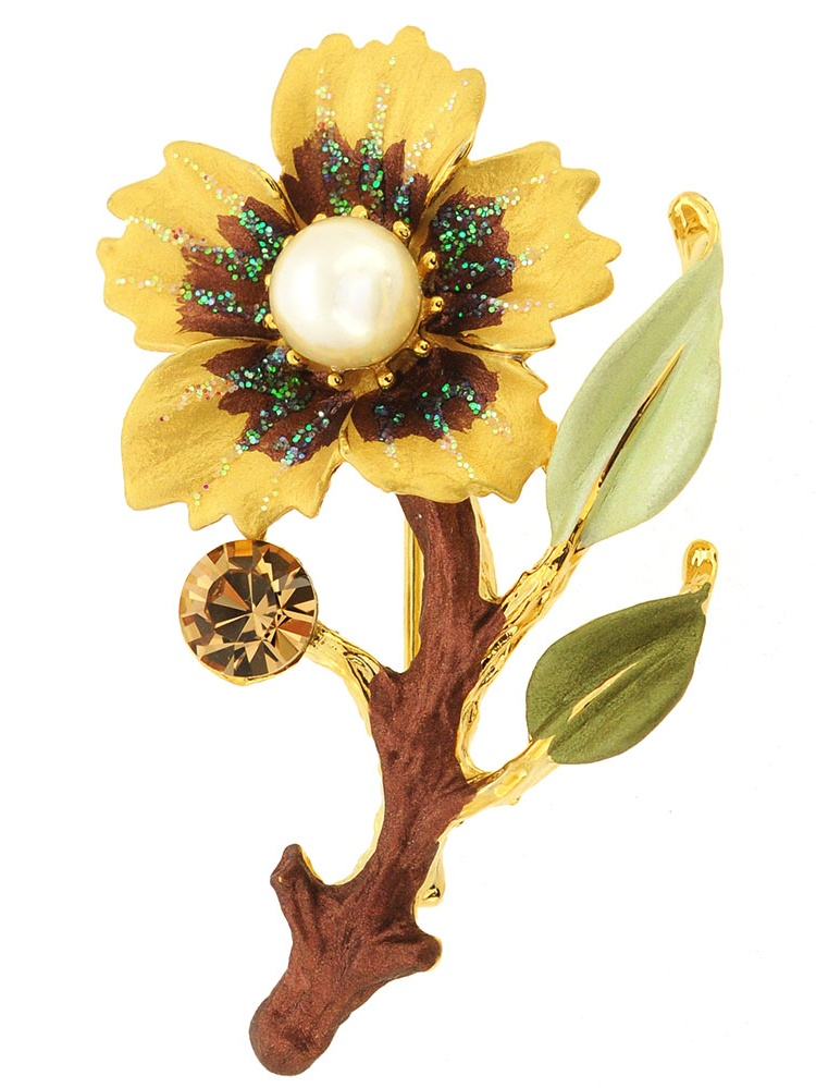 Topaz Brown Flower Swarovski Crystal Pin Brooch by