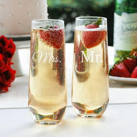 7335e1e75eb Cathys Concepts Mr. & Mrs. Stemless Champagne Toasting Flutes