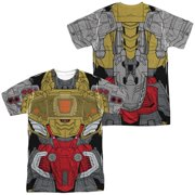 Trevco Sportswear HBRO244FB-ATPP-4 Transformers & Grimlock Costume Front & Back Print-Short Sleeve Adult Poly Crew T-Shirt, White - Extra Large