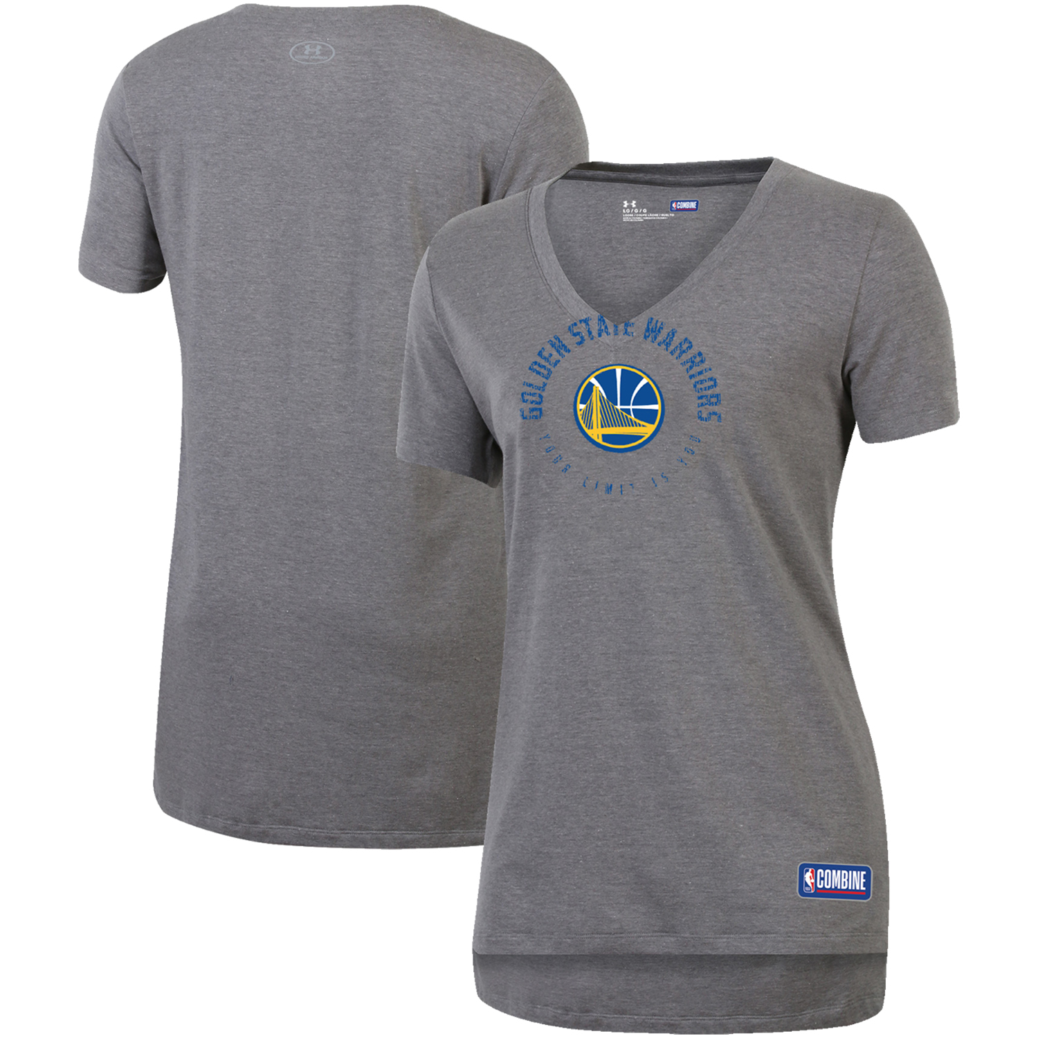 Golden State Warriors Under Armour Women's Combine Authentic Your Limit Is You V-Neck T-Shirt - Heathered Gray