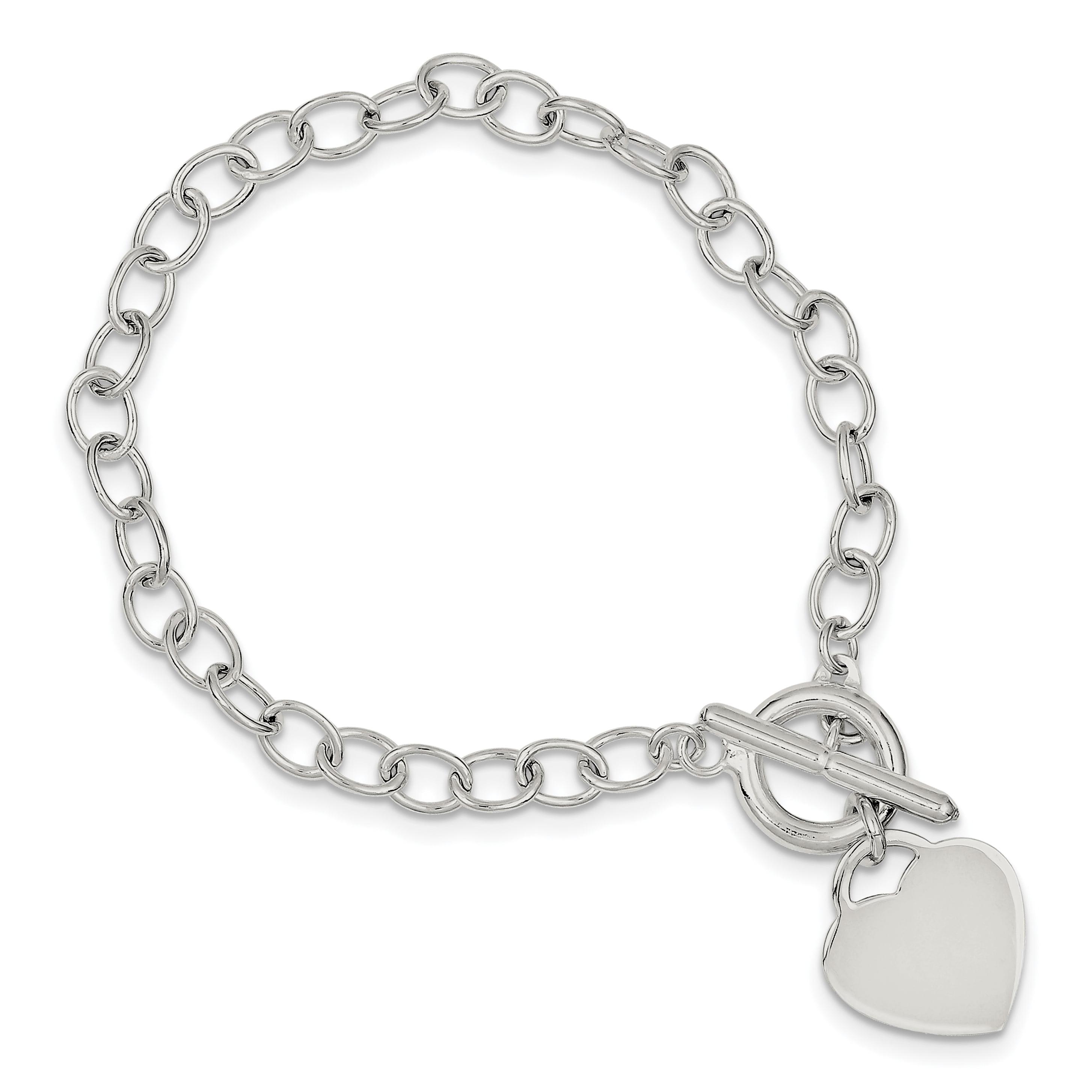 925 Sterling Silver Oval Link Heart Bracelet 7.5 Inch /love Fine Jewelry Gifts For Women For Her - image 3 de 3