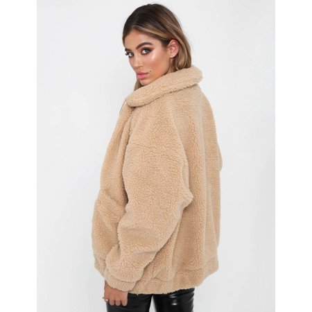 Warm Coat Ladies Faux Fur Borg Zip Jacket With Pockets 2018 Womens Coat Oversized Teddy Bear Lapel - Fur Oversized Coat