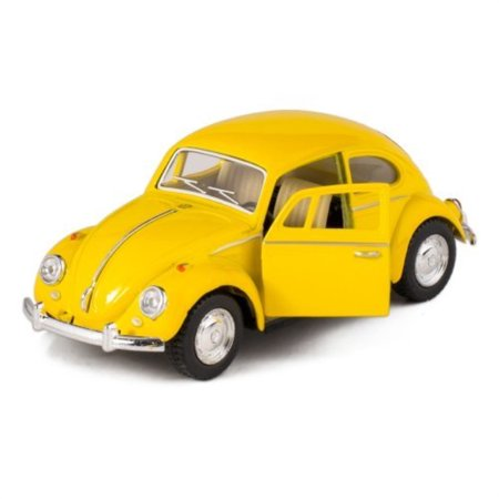 Yellow 1967 Classic Die Cast Volkwagen Beetle Toy with Pull Back Action