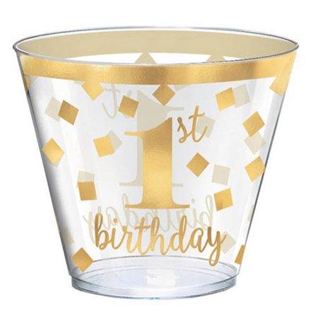 - 1st Birthday Gold 9oz Plastic Tumblers (30ct)