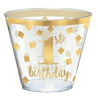 1st Birthday Gold 9oz Plastic Tumblers (30ct)