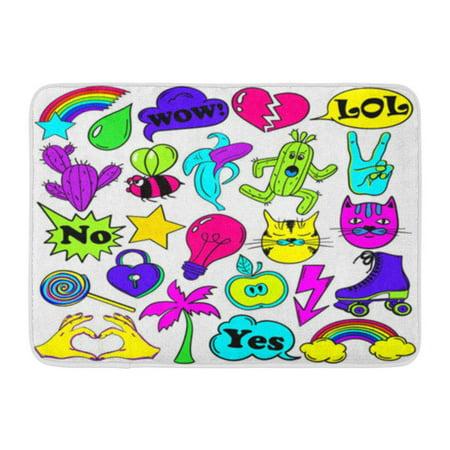 LADDKE Colorful Fun of Emoji Pins Patches in Cartoon 80S 90S Comic Doormat Floor Rug Bath Mat 30x18