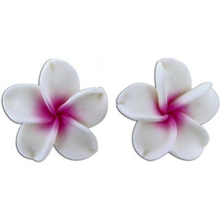 Fimo Plumeria Earrings - Fimo Flower Pierced Petite Earrings Plumeria White & Pink