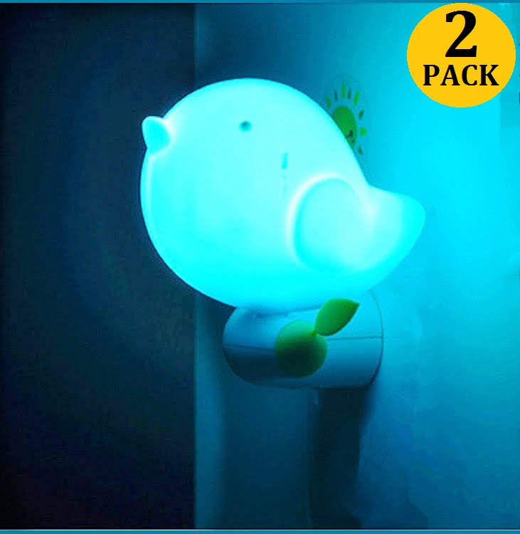 2PC/Set LED Night Light with Sensor Little Bird Automatic Plug-in Nightlight Dusk to Dawn 0.6W for Home Chidren Bedroom Bedroom