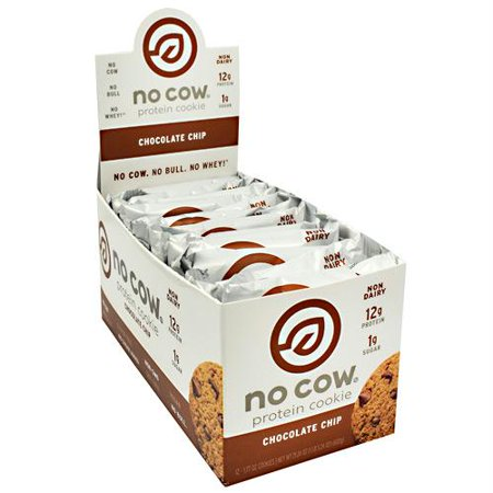 No Cow Protein Cookie, Chocolate Chip, 12g Plant Based Protein, Low Sugar, Dairy Free, Gluten Free, Vegan, 12 Count