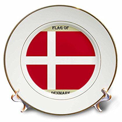 3dRose Flag of Denmark, Porcelain Plate, 8-inch