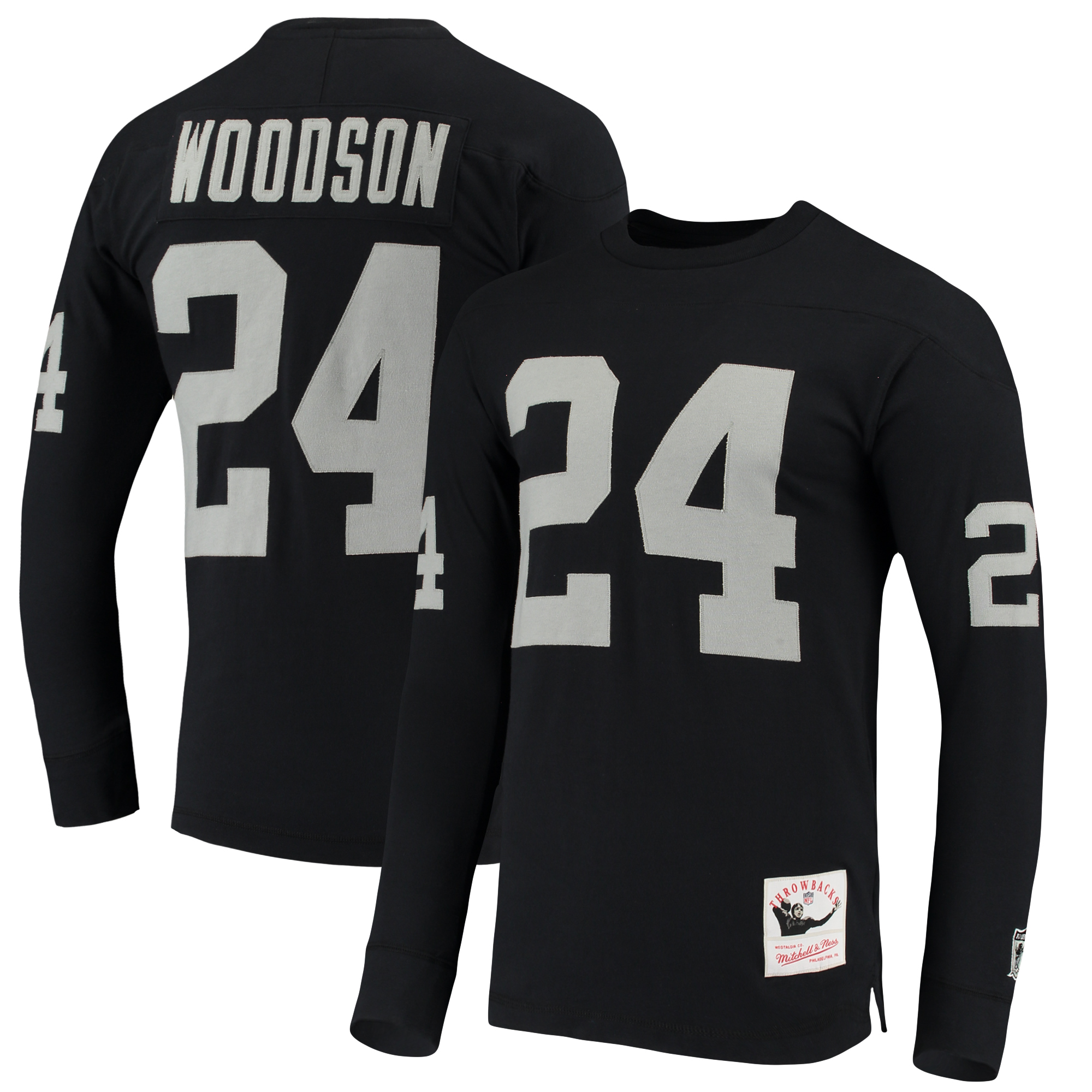 Charles Woodson Oakland Raiders Mitchell & Ness Throwback Name & Number Long Sleeve T-Shirt - Black