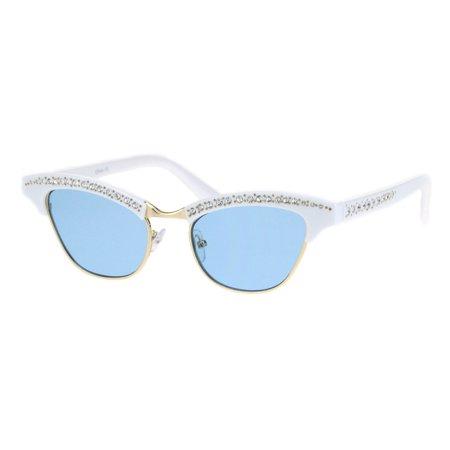 Womens Half Rim Cat Eye Bling Rhinestone Glam Sunglasses White (Guam Sunglasses)