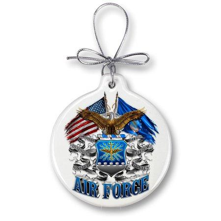 Air Force Eagle Double Flag Christmas Tree Ornaments
