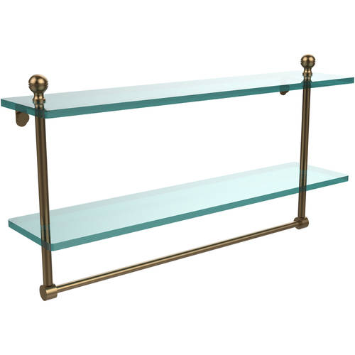 """Mambo Collection 22"""" 2-Tiered Glass Shelf with Integrated Towel Bar (Build to Order)"""