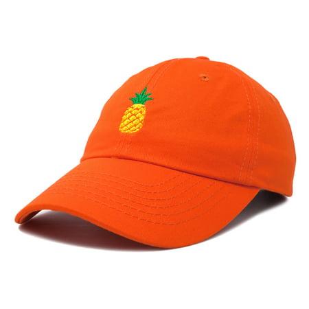 f86e449220c DALIX Pineapple Dad Hat Cotton Twill Baseball Cap Premium Stitched Orange -  Walmart.com
