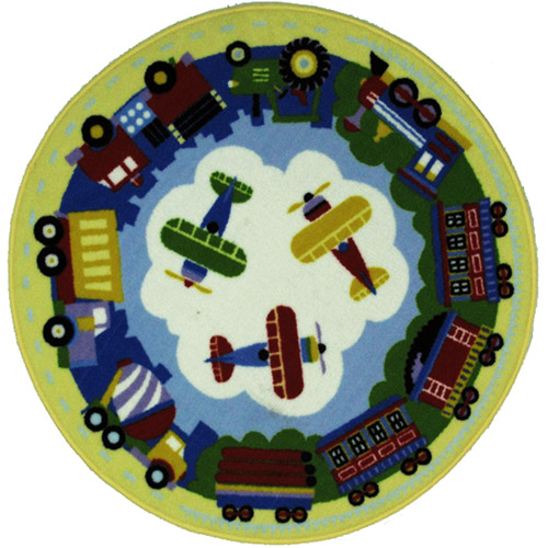 Fun Rugs Olive Kids Trains, Planes and Trucks Round Rug, Multi-Color
