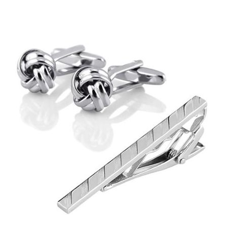 Mens Metal Silver Tone Simple Necktie Clip Clasp+Silver Knot Cufflinks
