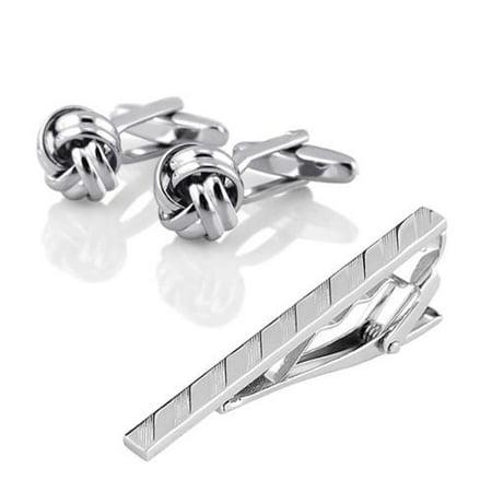 Zodaca Mens Metal Silver Tone Simple Necktie Tie Bar Clasp Clip+Silver Knot Cufflinks