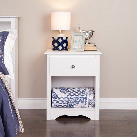 Monterey 1 drawer tall nightstand white for Extra tall nightstands