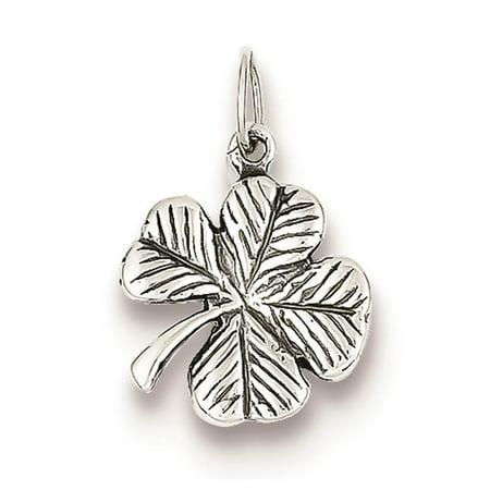 925 Sterling Silver Antiqued 4-Leaf Clover Polished Charm Pendant 20mm x 8mm Beveled Leaf Collection Pendant