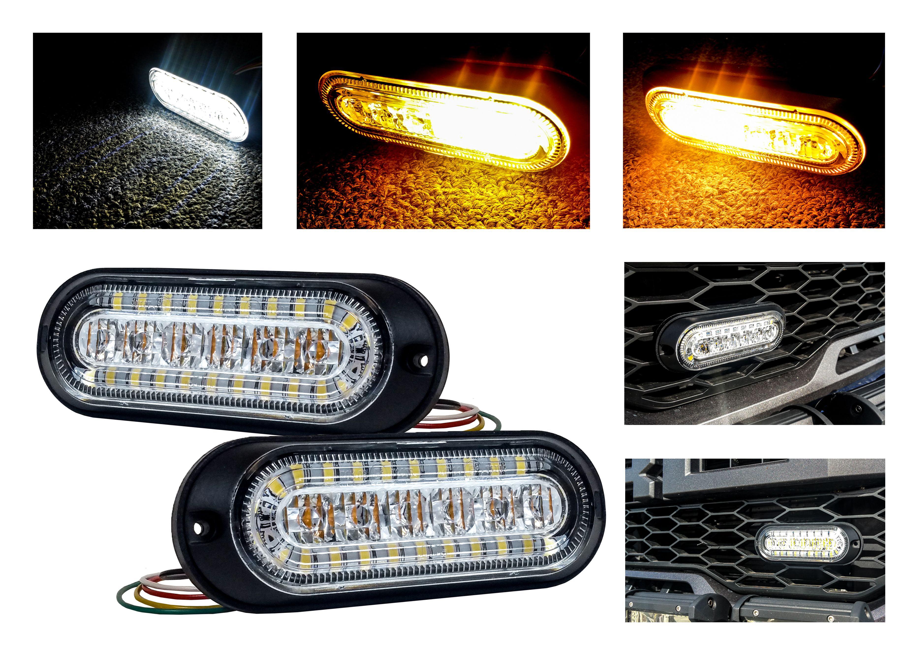 4 LED 12 Watt Amber Emergency Strobe Surface Grill Mount Light Tow Farm Truck