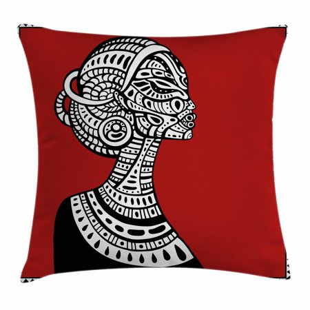 African Woman Throw Pillow Cushion Cover, Hand Drawn Ethno Cultural Themed Portrait Artistic Complex Figures, Decorative Square Accent Pillow Case, 16 X 16 Inches, Ruby Black White, by Ambesonne