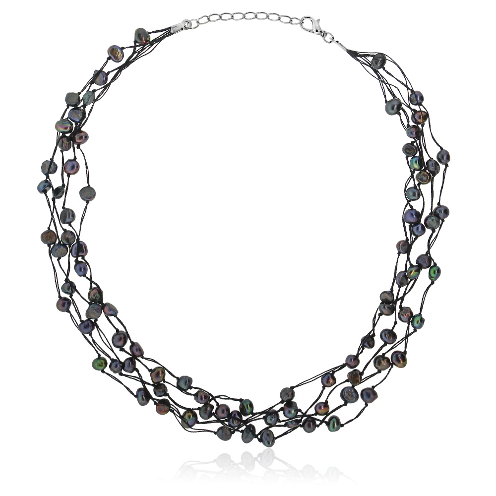 "17"" 7-8mm Black Cultured Freshwater Pearl 5 Strand Knotted Necklace"