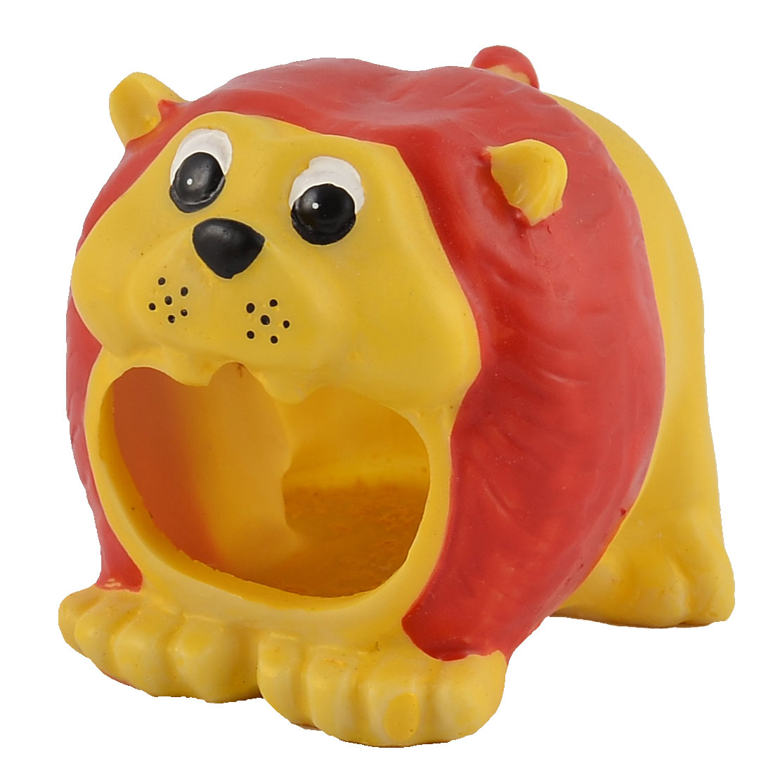 Pet Hamster Resin Animal Shaped House Ornament Yellow Red 3.5cm Entrance Width