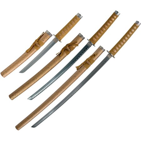 Whetstone Golden Dragon Samurai Sword, Set of 3 with Stand