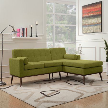Sophia Mid Century Modern 2 Piece Fabric Sectional Sofa and Lounge Set,  Green