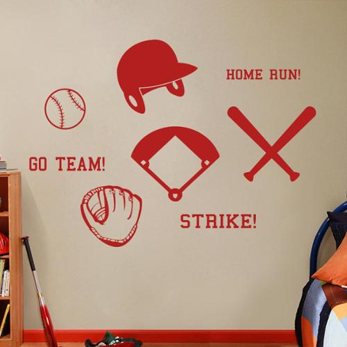 Sweetums Small Baseball Wall Decals Set
