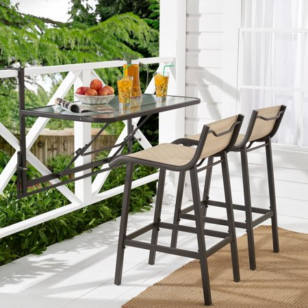 Mainstays Crowley Park 3-Piece Outdoor Bar Set with Fold-Down