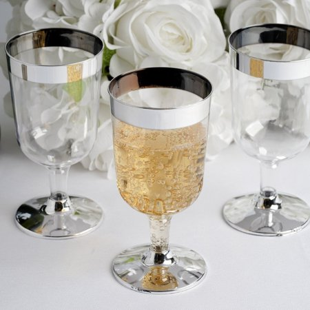 BalsaCircle Silver Rim 12 pcs 6 oz. Clear Plastic Goblets - Wedding Reception Party Buffet Catering Tableware