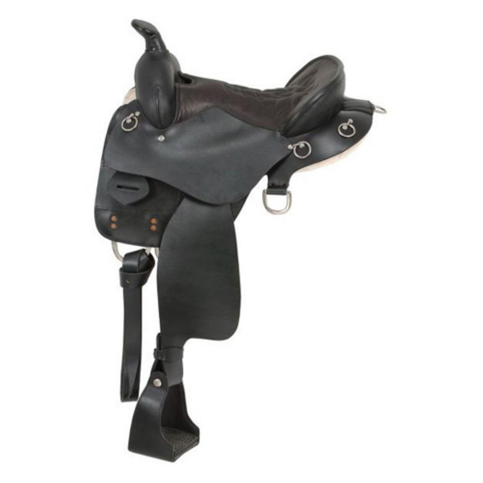 """JTI King Trekker Endurance Saddle - With Horn 16.5"""" Black"""