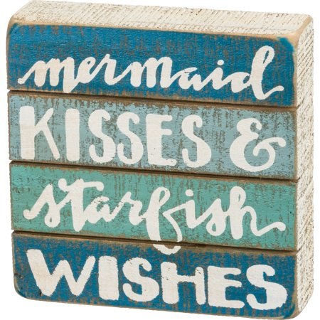 Mermaid Kisses and Starfish Wishes Blue Slatted Wood Box Sign 6 Inches