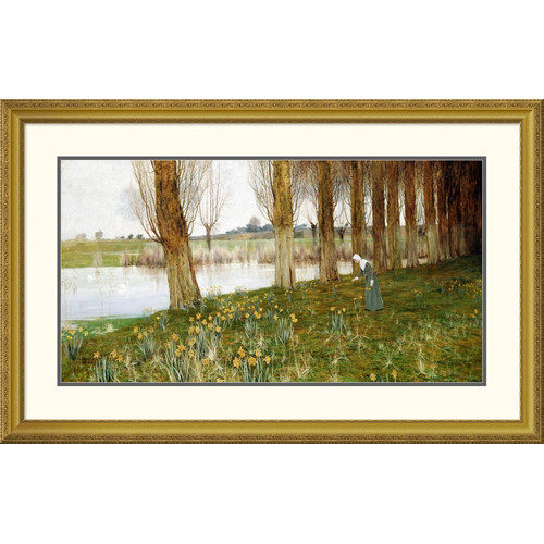 Global Gallery 'The Amber Vale, a Host of Golden Daffodils' by John George Sowerby Framed Painting Print
