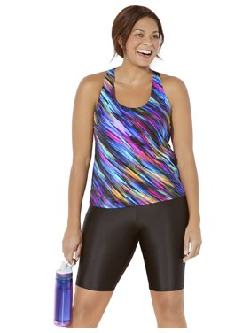 Swimsuits For All Women's Plus Size Racerback Tankini Set with Long Bike Short