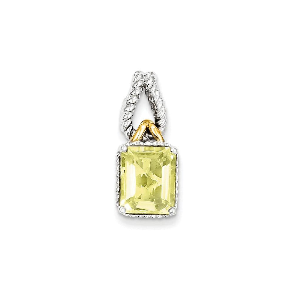 Sterling Silver w/ Gold-Plate Accent Lemon Quartz Pendant. Gem Wt- 2.63ct