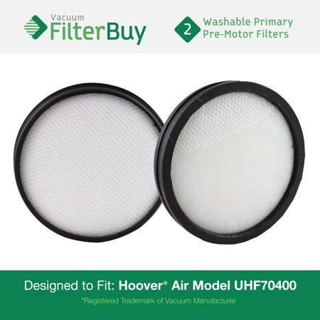 2 - Hoover WindTunnel Air Model UH70400 & UH72400 Primary Filters. Designed by FilterBuy to replace Hoover Part # 303903001. Washable and Reusable.