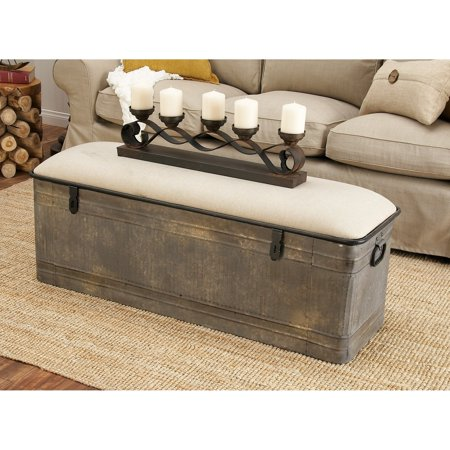 Wondrous Decmode Farmhouse Horse Watering Trough Inspired Silver Metal Storage Bench W Beige Cotton Seat Lamtechconsult Wood Chair Design Ideas Lamtechconsultcom