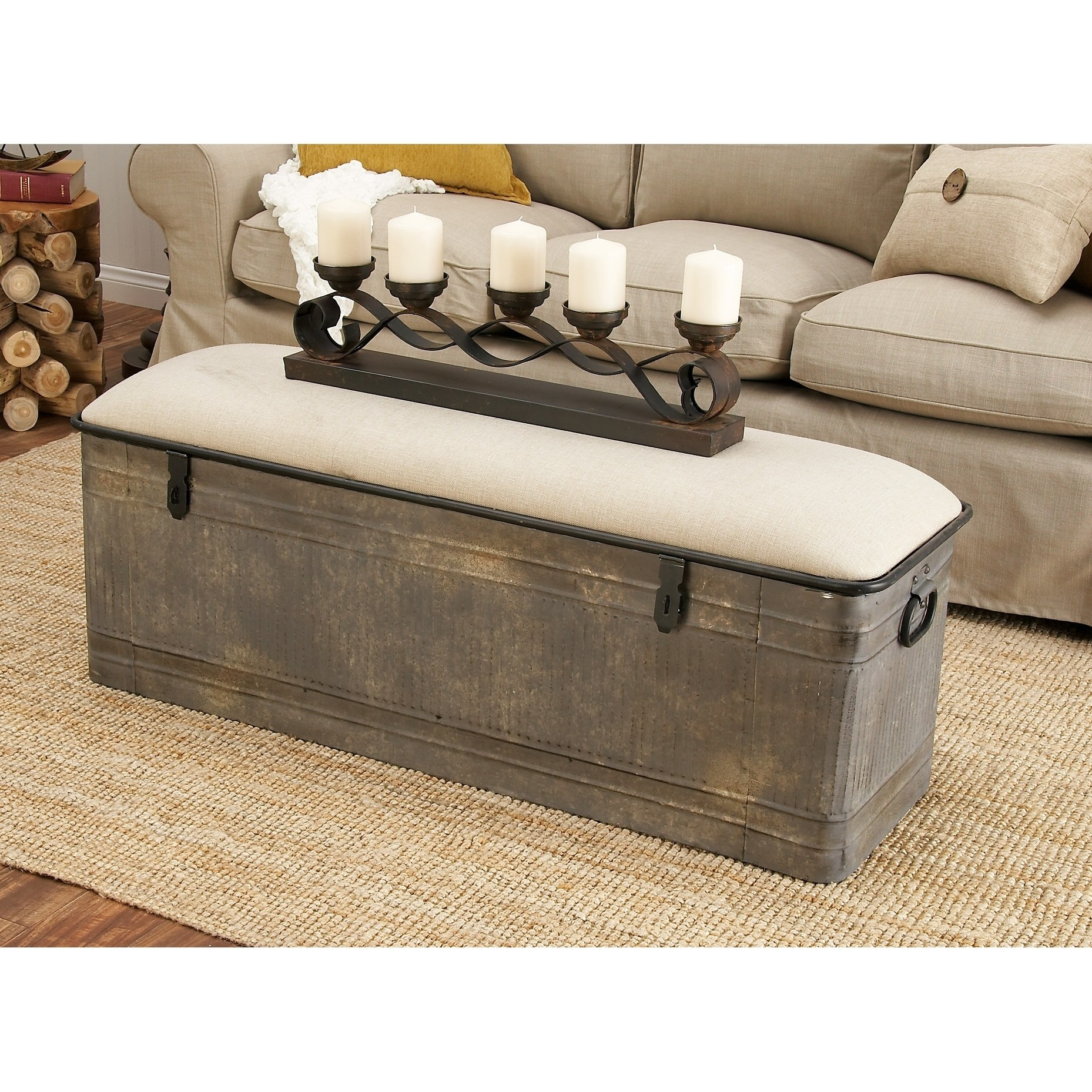 Merveilleux Product Image Decmode Farmhouse Horse Watering Trough Inspired Silver Metal Storage  Bench W/ Beige Cotton Seat