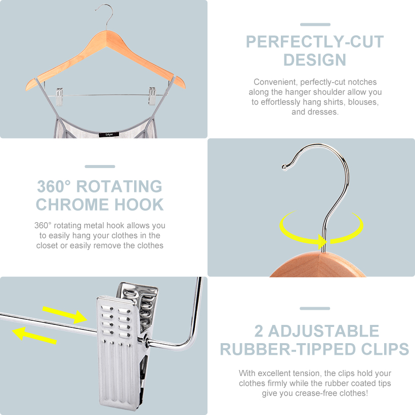 Dress Clothes Hangers Suit//Coat Hanger Closet Spice 360/° Chrome Swivel Hook for Heavy Canadian Jackets Extra Wide Shoulder Solid Wooden Hanger with Non Slip Pants Bar Smooth Finish 6 Pack