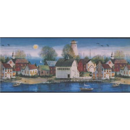 Village on the Lake at Night Lighthouse Dark Blue Wallpaper Border Retro Design, Roll 15' x 10'' - image 3 of 3