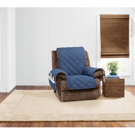 Sure fit denim sherpa recliner slipcover walmartcom for Furniture covers with pockets