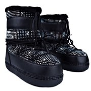Cape Robbin Freeze Women Warm Winter Snow Lace Up Iridescent Stones Faux Fur Ski Boots Black