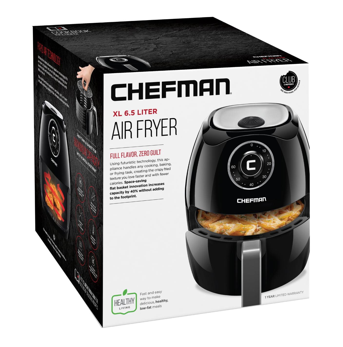 Black Brand NEW Chefman 6.5L Digital Air Fryer w// Space Saving Flat Basket