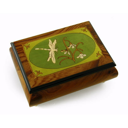 Tranquil Olive Green and Wood Tone Dragonfly Music Box - Baby Mine Dark Green Music Box